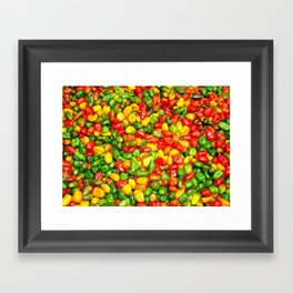 Colorful spicy chili pattern Framed Art Print