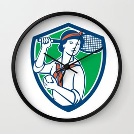 Female Tennis Player Racquet Vintage Shield Retro Wall Clock