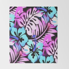 Hawaiian Flowered Shirt Print Pink Blue Throw Blanket