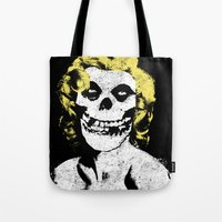 misfits Tote Bags featuring Misfits Monroe by AtomicChild