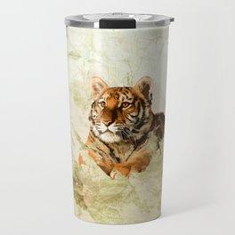 Tiger Cub - Mixed Media Digital art Travel Mug