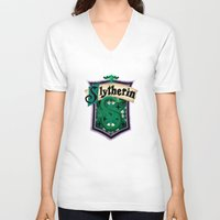 slytherin V-neck T-shirts featuring Slytherin by Zeynep Aktaş