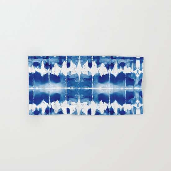 Shibori tie dye indigo blue hand bath towel by simple for How to tie towels in bathroom