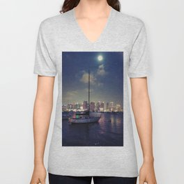 San Diego by Night - Oil Unisex V-Neck