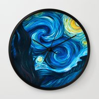 starry night Wall Clocks featuring Starry Starry Night by Jade Cohen