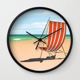 Cleveleys Beach, lancashire vintage travel poster Wall Clock