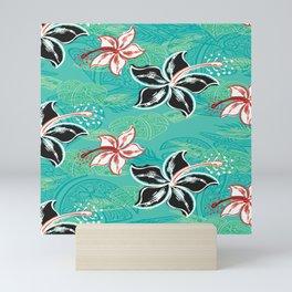 Black Hibiscus Jungle Print Mini Art Print