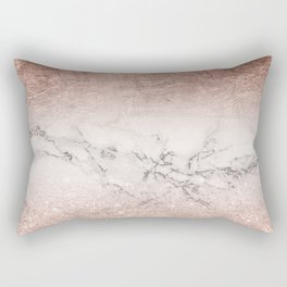 Modern faux rose gold glitter and foil ombre gradient on white marble color block Rectangular Pillow