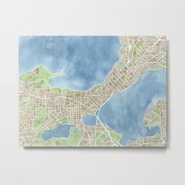 City Map Madison Wisconsin watercolor  Metal Print