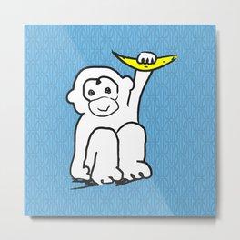 white monkey holding a banana Metal Print