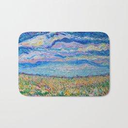 Spring Meadow - Palette Knife acrylic floral landscape by Adriana Dziuba Bath Mat
