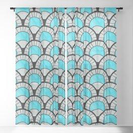 Aqua Art Deco Twenties Fan Pattern Sheer Curtain