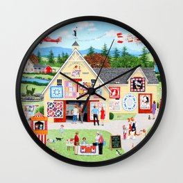 The Calico Cat Quilt Shop Wall Clock