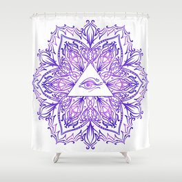 Indian mandala sun and eyes Shower Curtain