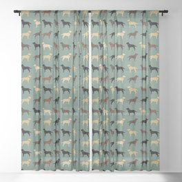 Labrador Retriever Dog Silhouettes Pattern Sheer Curtain
