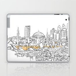 Modern and old Istanbul panorama drawing Laptop & iPad Skin
