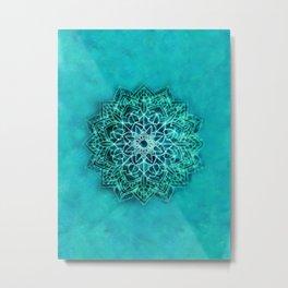 Elegant Turquoise Watercolor Mandala Metal Print