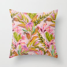 Botanical love pattern Throw Pillow