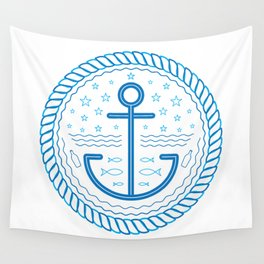 Blue Anchor Wall Tapestry