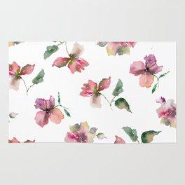 Watercolor roses. Delicate pink flowers. Rug