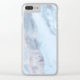 Light Blue Gray Marble Clear iPhone Case