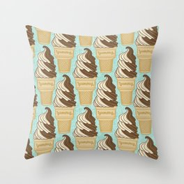 SOFT SERVE TWIST ICE CREAM CONE Throw Pillow