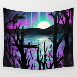 Night With Aurora Wall Tapestry
