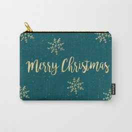 Merry Christmas Teal Gold Carry-All Pouch
