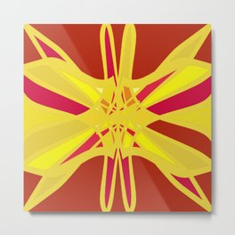 Abstract Butterfly Star on Red Metal Print