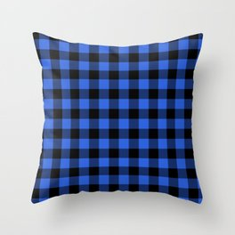 Royal Blue and Black Lumberjack Buffalo Plaid Fabric Throw Pillow
