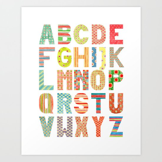 Alphabet with patterns Art Print