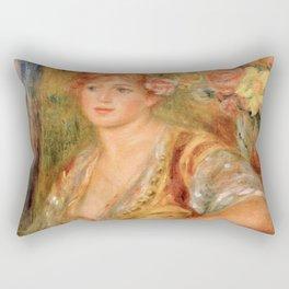 "Auguste Renoir ""Blonde à la rose"" Rectangular Pillow"