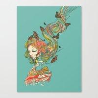 geisha Canvas Prints featuring Geisha by Huebucket