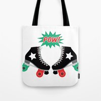 roller derby Tote Bags featuring Roller Derby POW! by Otterly Design