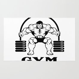Bodybuilder with barbell Rug
