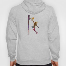 Young woman basketball player 04 in watercolor Hoody