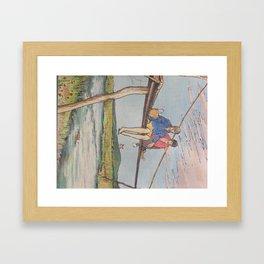 Dropping flowers in the stream Framed Art Print