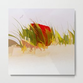 Beach chair in beach grass Metal Print