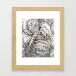 Duck and bear B&W Framed Art Print