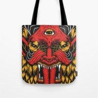 diablo Tote Bags featuring DIABLO by MIRKOW GASTOW