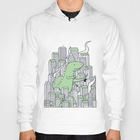 godzilla Hoodies featuring Godzilla by Mild Peril Media