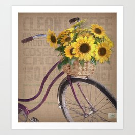 Sunflower Bicycle Art Print