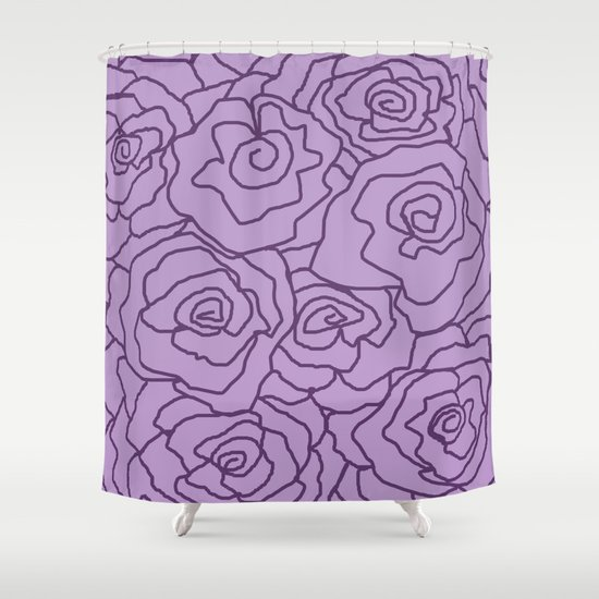 Lavender Dreams Roses - Light with Dark Outline - Color Therapy by desertsart