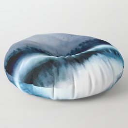 Mountainscape Under The Moonlight Floor Pillow