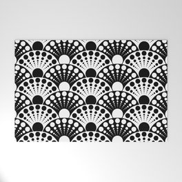black and white art deco inspired fan pattern Welcome Mat