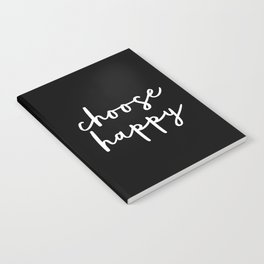Choose Happy black and white contemporary minimalism typography design home wall decor bedroom Notebook