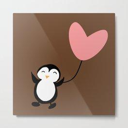 Penguin in love Brown Metal Print
