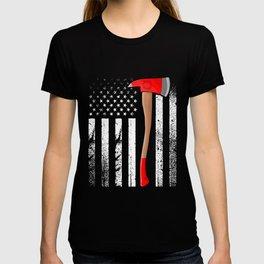 Firefighter American Flag Axe Thin Red Line Patriot Firemen T-shirt
