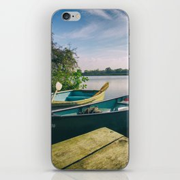 Canoe and Row Boat tethered on the River Thames iPhone Skin