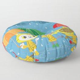 Rainy Day Kitty Cats Floor Pillow